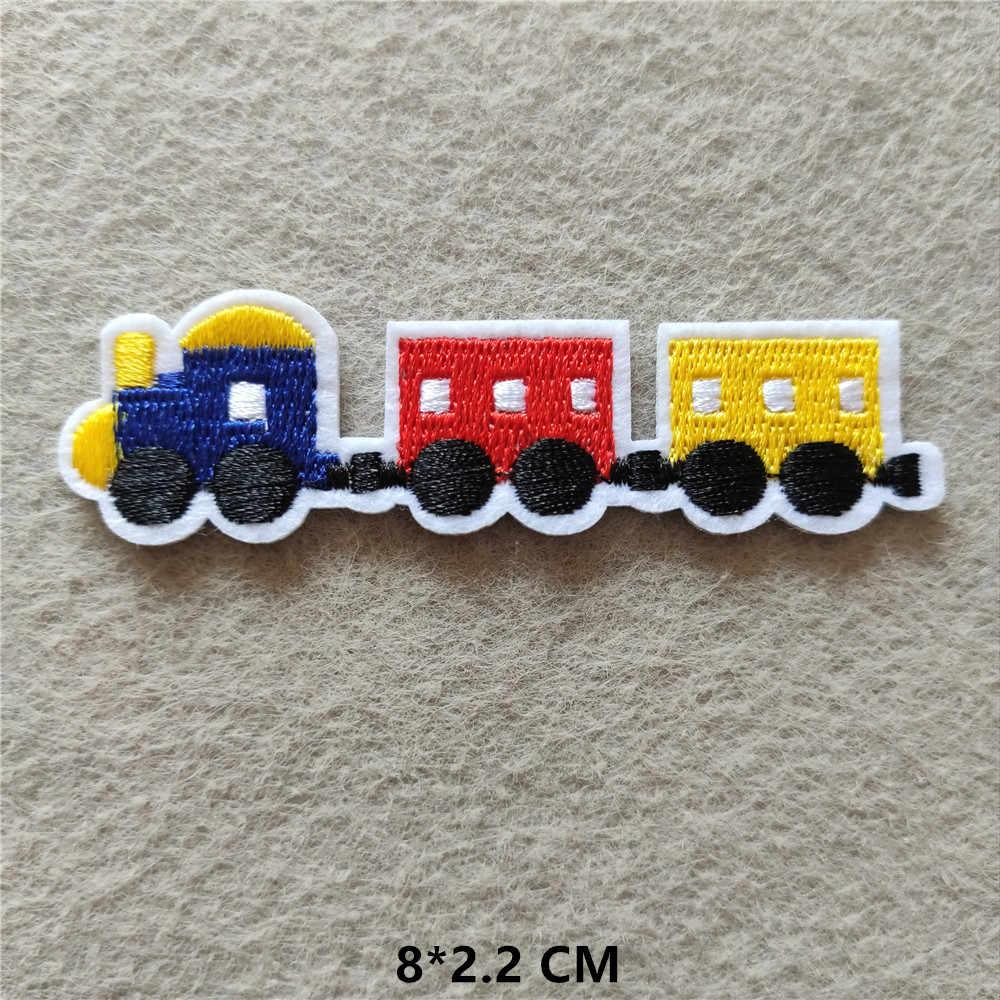 만화 자동차 패치 수 놓은 의류 줄무늬 굴 삭 기 배지 아이언에 대 한 애니메이션 스티커 어린이 옷 @ E