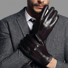 Real Leather Gloves Male Fashion Simple Black Sheepskin Driving Business Mans Free Shipping TE2018