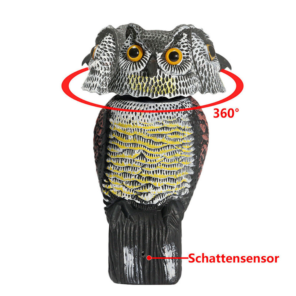 Bird Scarer Rotating Head Owl Decoy Protection Repellent Bird Pest Control Scarecrow Garden Yard Decor Outdoor Bird Scarer Owl