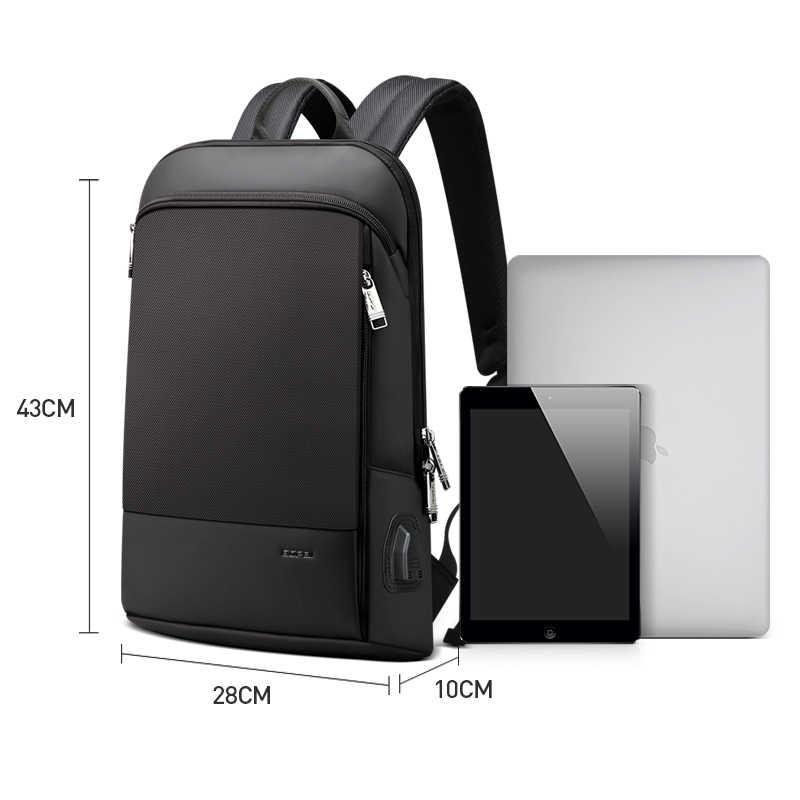 Bopai Diperbarui Versi SUPER SLIM Ransel Laptop USB Pengisian Port Pria Anti Pencurian Ransel Tahan Air College Ransel