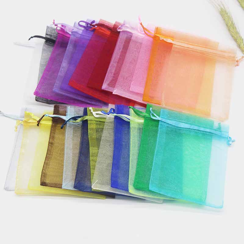 50pc 7x9cm 9x12cm 10x15cm 13x18cm Organza Bag Wedding Candy Bag Fashion Special Design Storage Jewelry Promotion Gifts Package