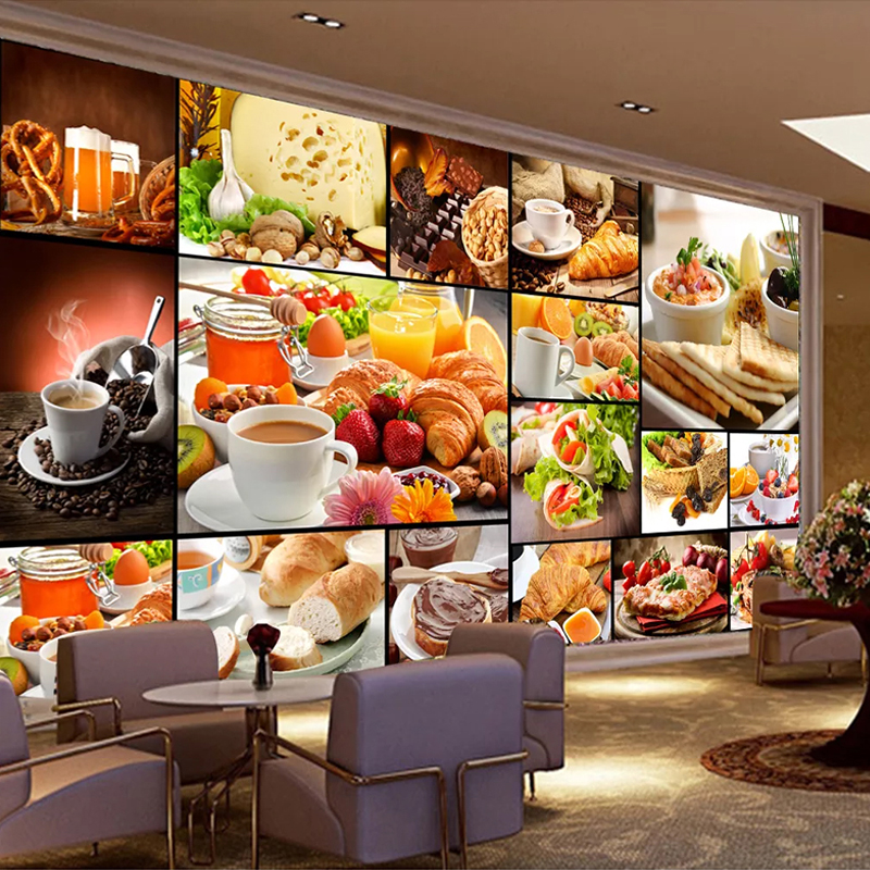 Custom Mural Wallpaper European Style Bread Baking Milk Tea Dessert Shop Cafe Backdrop Decor Poster Photo Wallpaper For Walls 3D
