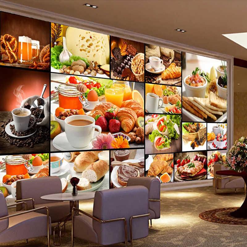 Custom Mural Wallpaper European Style Bread Baking Milk Tea Dessert Shop Cafe Backdrop Decor Poster Photo Wallpaper For Walls 3D