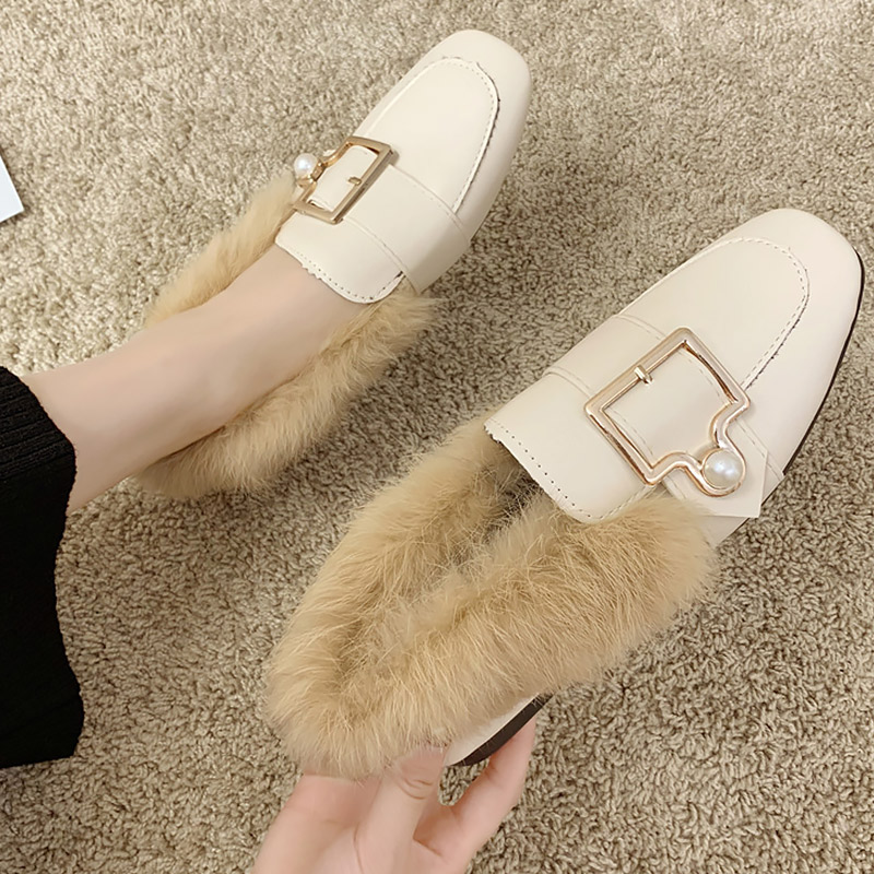 Cheap Women's flats Slip on Fur Pearl PU leather shoes woman Buckle Non slip Comfortable Flat shoes ladies loafers 2020 Fashion