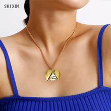 SHIXIN Personalized Designer Open Love Heart Pendant Necklace for Women Locket Letter Necklace Fashion 2020 Gifts Jewelry Female(China)
