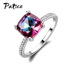 Europe Style Square Colorful Gem Stone Engagement Rings For Women 925 Sterling Silver Knuckle Finger Wedding Party Jewelry