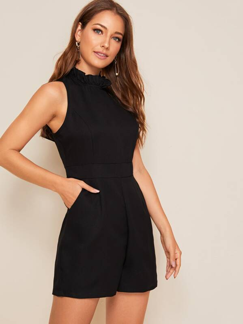 Shorts Pocket Back Black Playsuits Jumpsuits & Women Casual