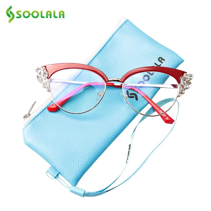 SOOLALA Reading Glasses Anti-Blue-Light Cateye Presbyopia Rhinestones Women Ladies