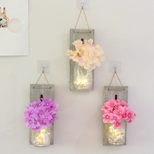 Household Retro Decoration Light Rustic Wall Sconces Fake Flower Home Accessories