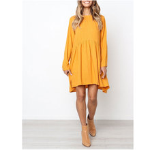 Casual Women 's Dress Spring Summer 2020 New Cute O-Neck Long Sleeve Dress Elegant Loose Large Lady Beach Dresses Party Dress