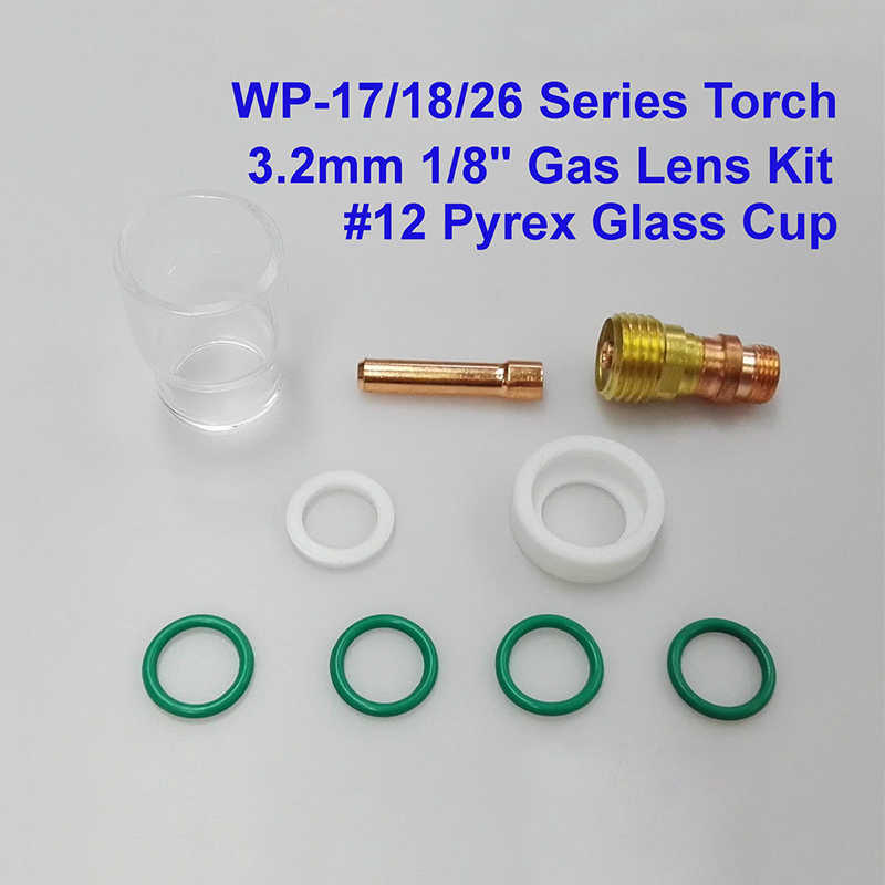 9pcs TIG Welding Stubby Gas Lens #12 Cup Kit For Tig WP-17//18//26 Torch DURABLE