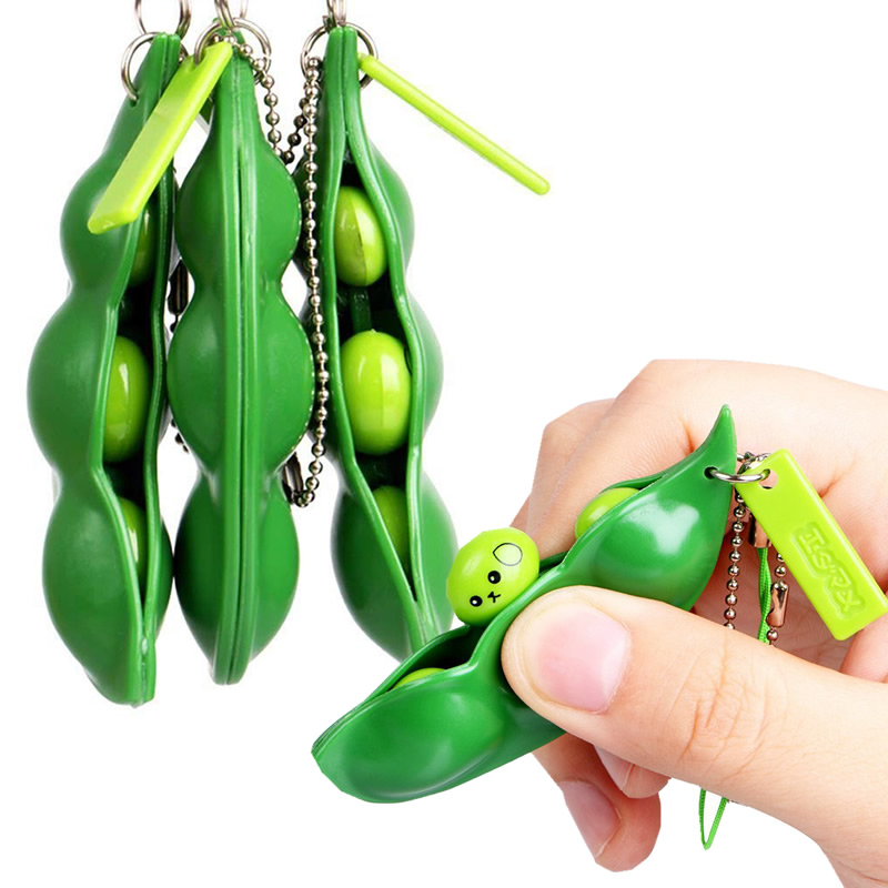 Toys Stress-Toy Peas-Beans Keychain-Pop Decompression It Fidget Squeeze Figet Squishy