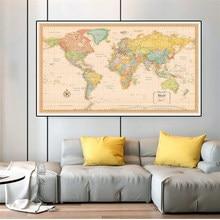 O mapa do mundo retro 5 tamanhos poster não-tecido lona pintura da parede arte imagem casa decoração material escolar crianças estudo