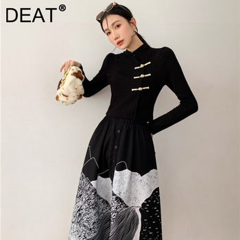DEAT Woman Suit Black Buckle Stand Collar Long Sleeve Fit Tops + Print Elastic Waist Skirt Vintage Style 2021 New Autumn 15XF734 1