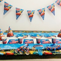 132pcs/bag 95 Cars Flags Tablecloth Straws Cups Plates Lightning Mcqueen Party Supplies Kids Birthday Decoration favors