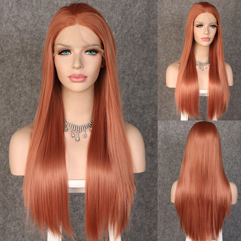 Lvcheryl Silky Straight Reddish Brown Color Long Natural Heat Resistant Synthetic Lace Front Wigs for Women