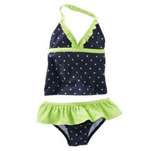New Model Kid Girls Two Piece Swimsuit 2-8 Y Baby Dark Blue Swimwear with Dots Print Children Swimming Wear Green Fold