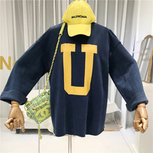 Korean Fashion Womens Hoodies Pullover Streetwear Loose Cotton Letter Harajuku  Sweatshirt Women 2019 Fall Autumn Clothing