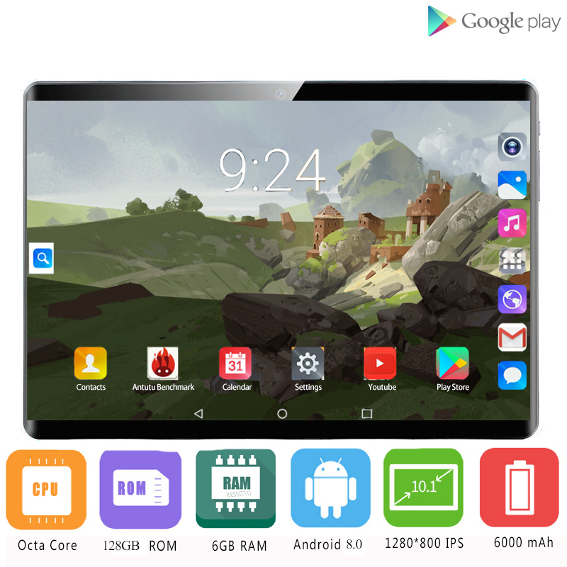 2020 New 1280*800 IPS 10.1 Inch Tablet PC 3G/4G Android 8.0 Octa Core Google Play Tablets 6GB RAM 128GB ROM WiFi GPS 10' Tablet