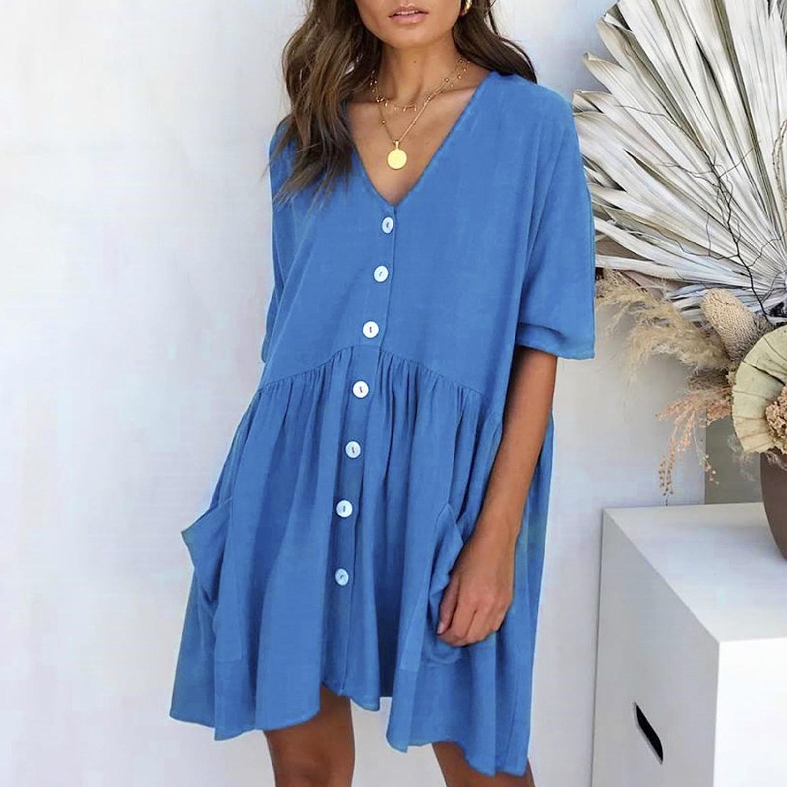 Women's Fashion Casual V-Neck Solid Short Sleeve Button Pocket Short Dress vestido de mujer summer dress платья для женщин 8