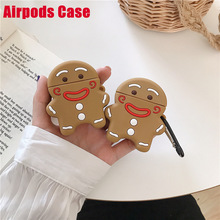 Funny Cute Cookie man Earphone Case Cartoon Bluetooth Wireless Silicone Headset Cover For Airpods Earphone Protective Case