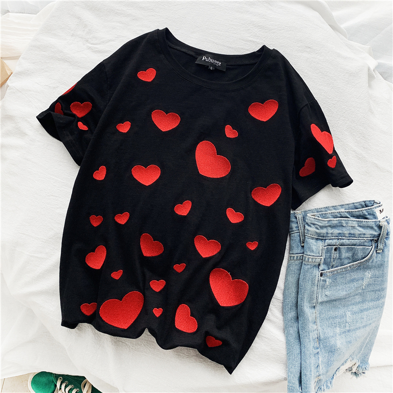 Zuolunouba 2020 Casual Loose Tops Tees Summer Short Sleeve Small Love Heart Print Women Fashion Black Wild T-shirts High Quality
