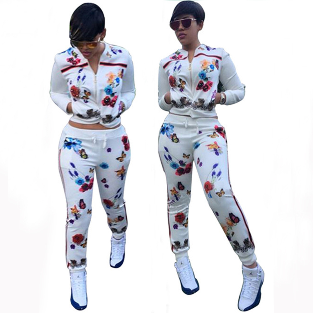 Women Two Piece Set Print Butterfly Flower Tracksuit Long Sleeve Top+Pant Sweat Suits Lounge Wear Outfits Matching Sets Femme