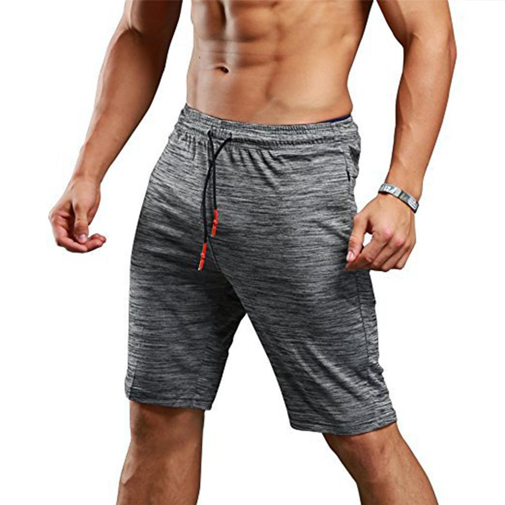 MISSKY New Summer Shorts Men Sports Casual Pants Solid Grey Color Loose Capri Pants For Running Exercises Male Clothes