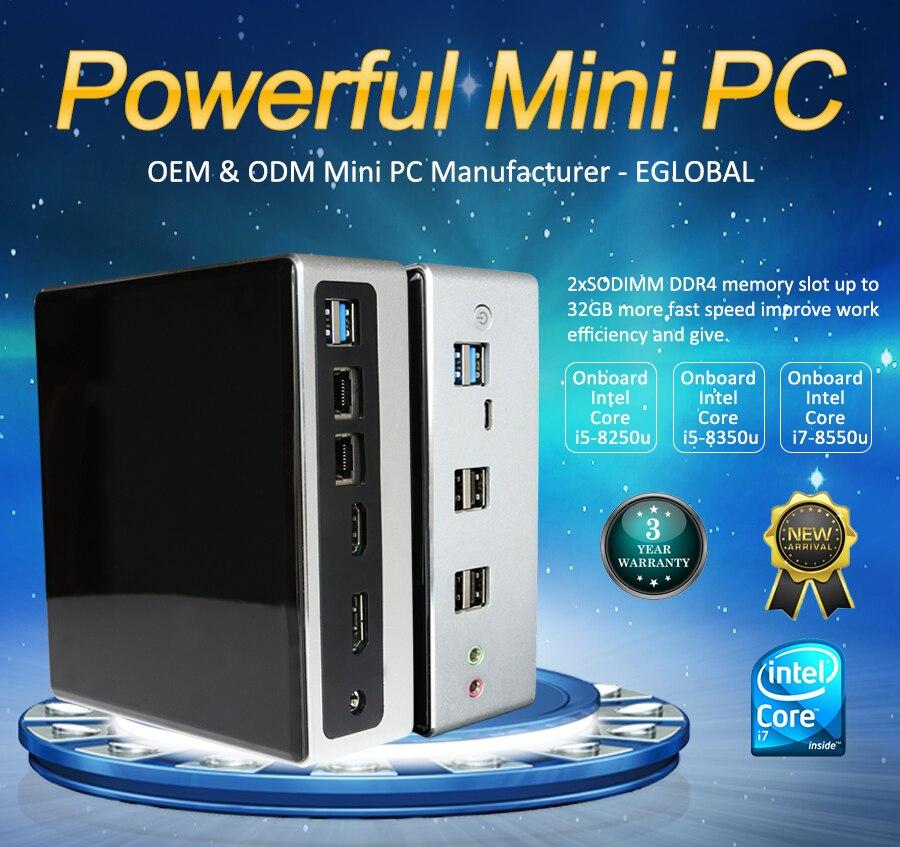 2019 ventilador de refrigeración Eglobal Windows 10 Mini ordenador de 8 generación Mini ordenador Intel i7 8550U i5 8250U DDR4 m2 SSD Micro ordenador de juegos de escritorio