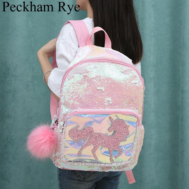 New Sequin Unicorn School Bags For Teenage Girls 2019 Kids Multi-Function School Backpack Large Capacity Female Mochila Escolar