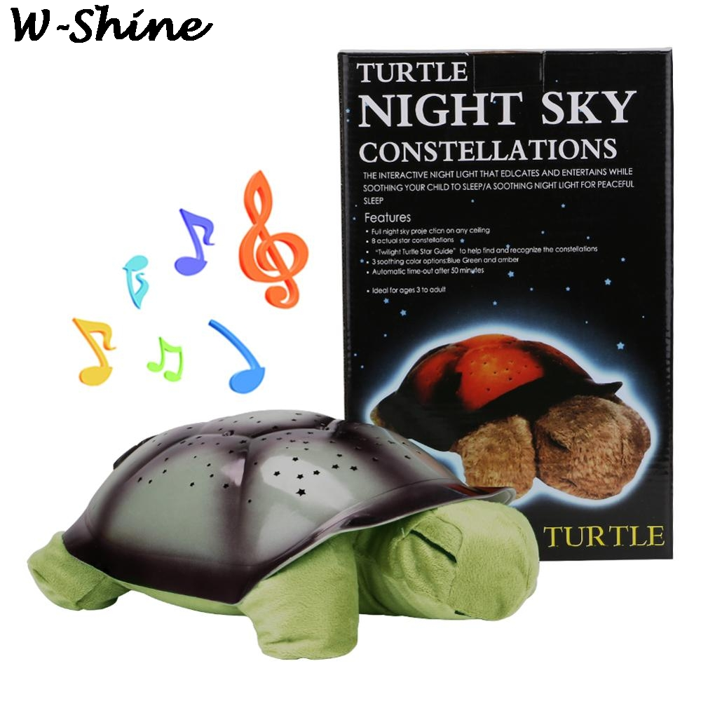 Turtle Night Light Projector Stars Moon Night Lamps For Kids Bedroom Cute Plush Animals Colorful Nightlight Projector Luminous