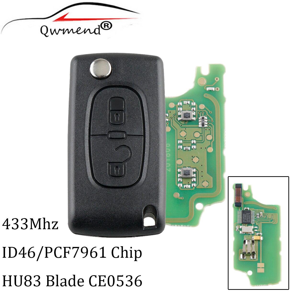 Clé transpondeur 433MHz 2 boutons   Puces PCF7961, télécommande pour Peugeot 207 307 308 407 CE0536