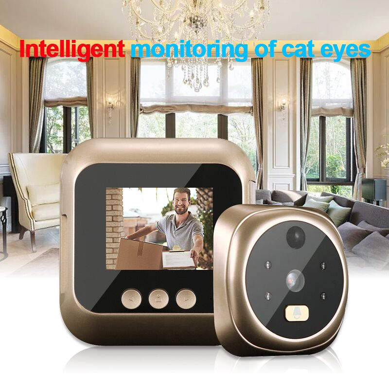 Peephole Camera Wifi 2.4 Inch Home Visible Cat Eye Doorbell Smart Voice Phone Intercom Video Anti-Theft Surveillance Doorbell