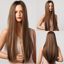 Wigs Blonde Henry Margu Middle-Part Heat-Resistant Brown Natural Straight Long Synthetic