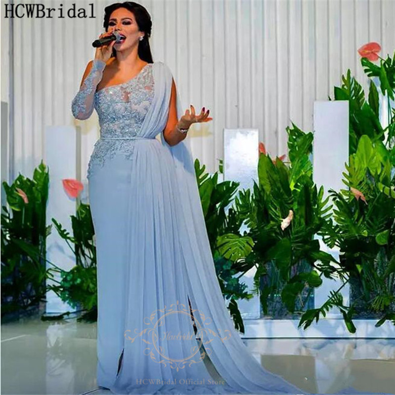 Dusty Blue One Shoulder Saudi Arabic Evening Dress Long Sleeve A Line Chic Beaded Lace Middle East Women Prom Party Dresses