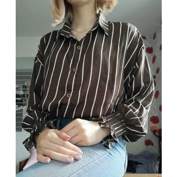 2017 primavera outono camisas do vintage mulheres listradas slim gola mulheres camisas casuais senhoras estilo clássico camisas femininas soltas 1