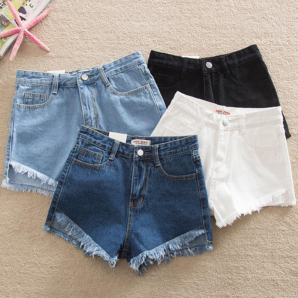 Denim Tight Bum <font><b>Shorts</b></font> <font><b>Women</b></font> Jeans High Waist <font><b>Sexy</b></font> Plus Size 2020 Summer Streetwear Casual Vintage Skinny Slim Solid Tassel <font><b>Mini</b></font> image