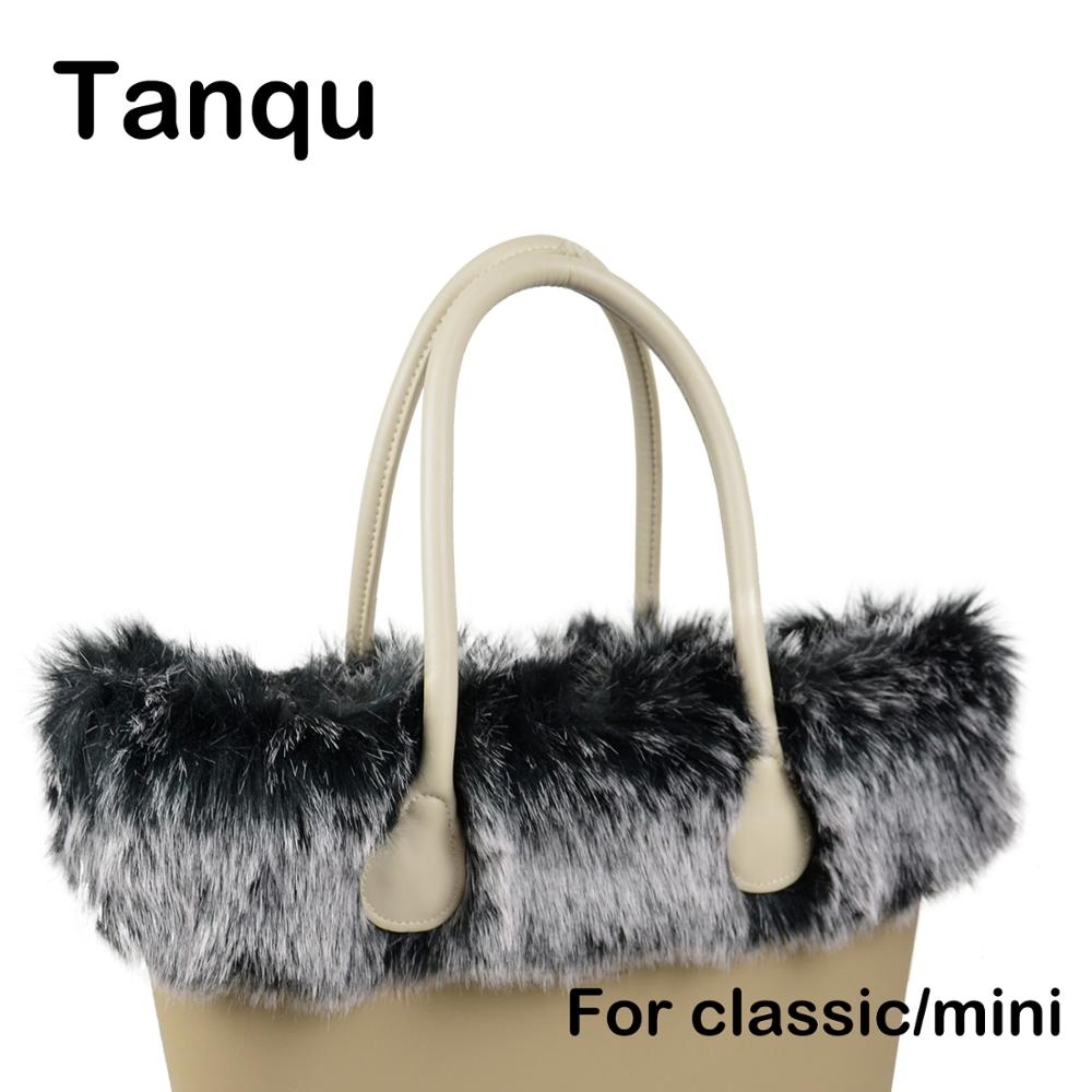 Tanqu New Women Bag Faux Fox Fur White Black Plush Trim For O BAG Thermal Plush Decoration Fit For Classic Big Mini Obag