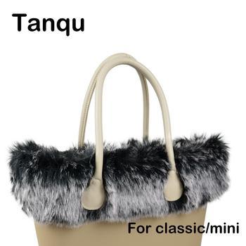 Tanqu New Women Bag Faux Fox Fur White Black Plush Trim for O BAG Thermal Decoration Fit Classic Big Mini Obag - discount item  10% OFF Bag Parts & Accessories
