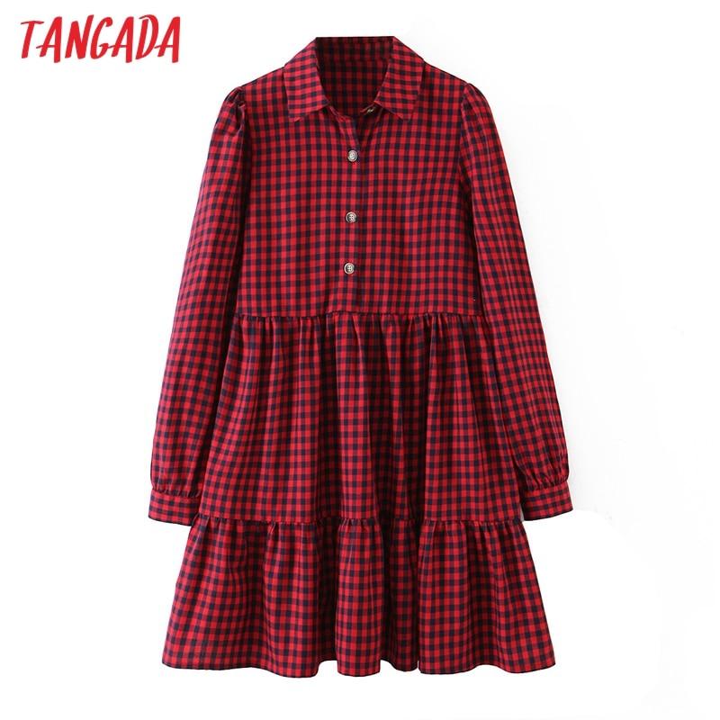 Tangadaファッション女性赤チェック柄プリントシャツドレス2020新着長袖女性ルースミニドレスvestidos SL161