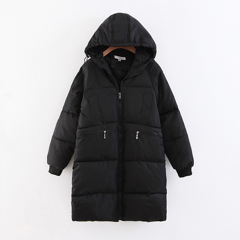 2018 Winter New Style Large Size Dress Fat Mm Simple Solid Color Hooded Long Cotton-padded Clothes Cotton-padded Jacket Bicolor