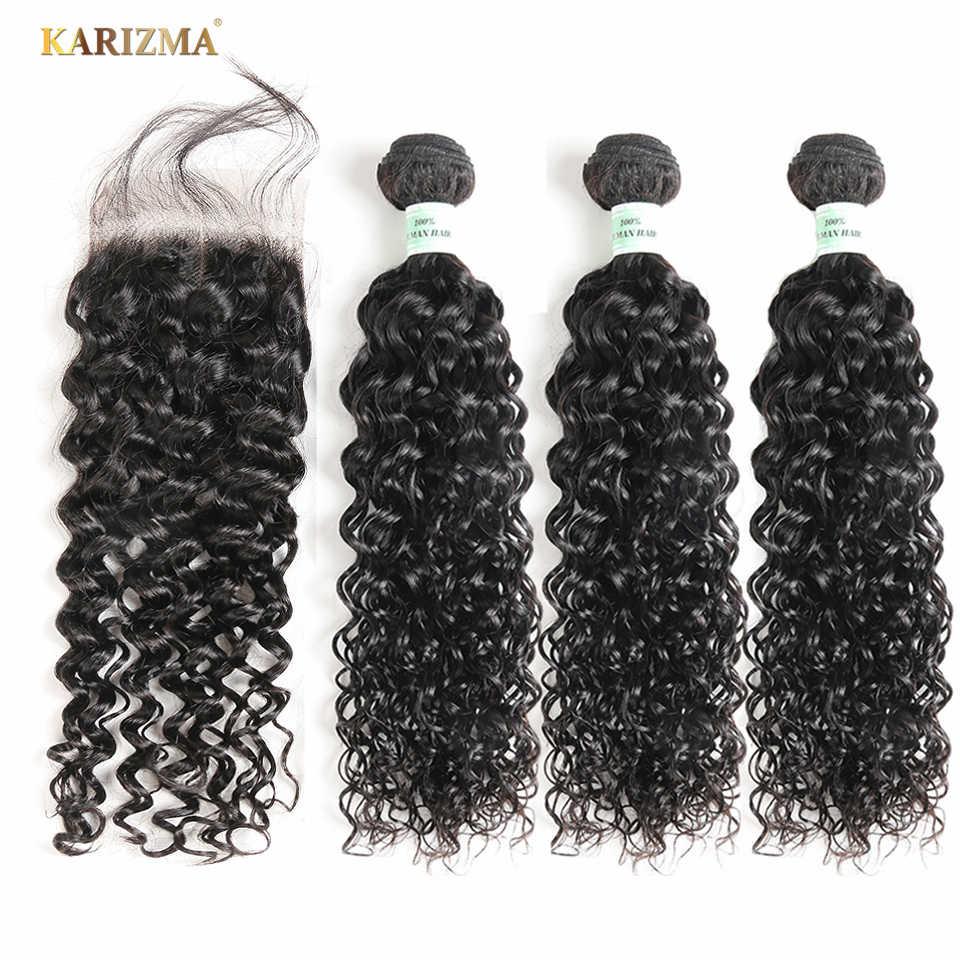 Paquetes de onda de agua Karizma con cierre paquetes de tejido de cabello brasileño con cierre de cabello humano no Remy 3 paquetes con cierre