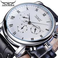 Jaragar Brand White Men Mechanical Watch Minimalism Dial Date Business Sports Male Genuine Leather Wrist Automatic Clock Relogio