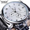 Reloj Mecánico de marca Jaragar blanco para hombre, reloj automático de pulsera de cuero genuino para hombre