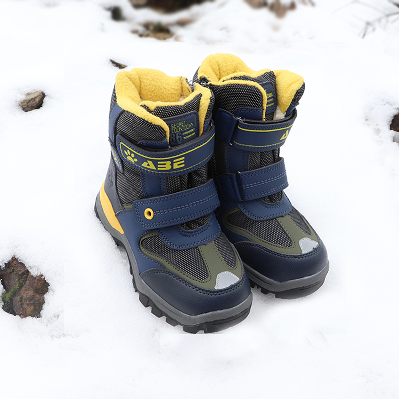 Believed Little Boys Warm Snow Boots Toddler Kids Mid-Calf Soft Anti-Slip Winter Shoes for School Outdoor Hiking