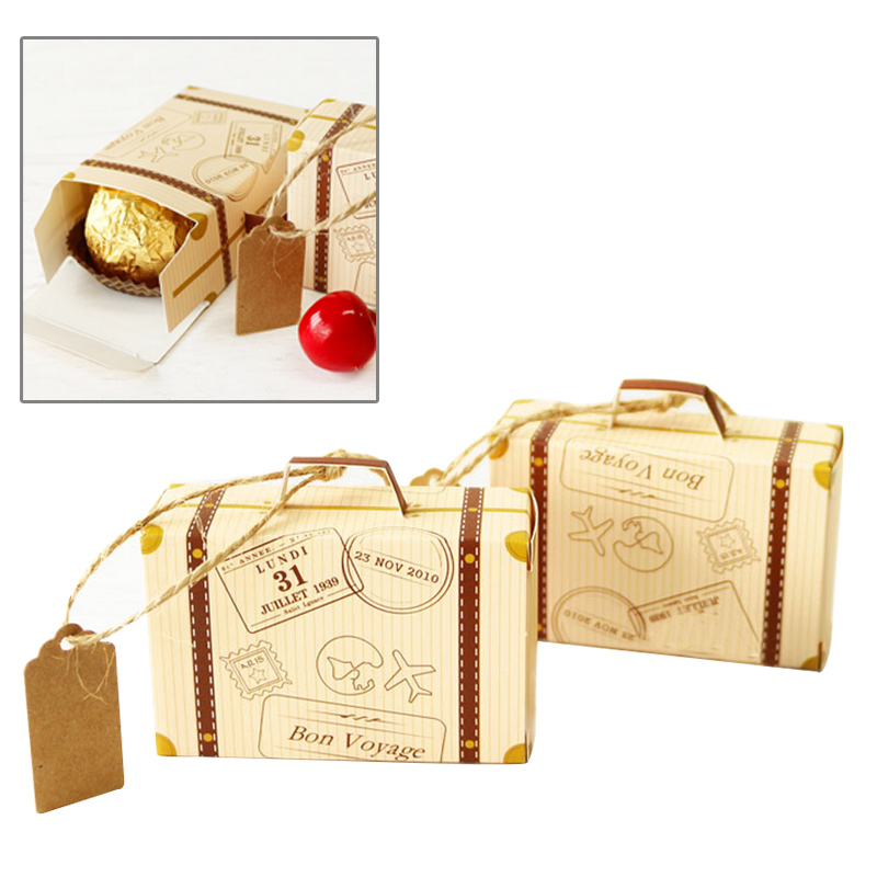 2PCs/Set Creative Mini Suitcase Design Candy Box Candy Packaging Carton Chocolate Box Wedding Gift Box With Card For Event Party