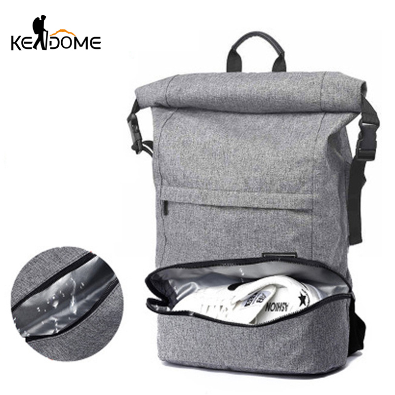 Men Anti-theft Travel Backpack Sports Gym Bag Independent Shoes Storage Dry Wet Waterproof Fitness Bag Laptop Rucksack XA905WD