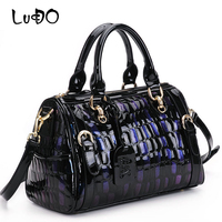 LUCDO Genuine Leather Women Handbags First Layer Cowhide Discolor Pattern Totes Designer Leopard Print Shoulder Crossbody Bag