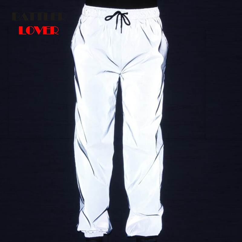 Dropshipping Joggers Pants Men Highlight Reflective Pants Hip Hop Mens Pants Streetwear Rainbow Colorful Jogger Lover Sweatpants