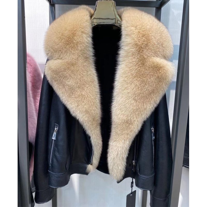H46cf3f82ede641939248f518e53aca01X Winter Real Fur Coats Natural Women High Quality Genuine Leather Jacket With Big Fox Fur Turn-down Collar Luxury Overcoats 2021